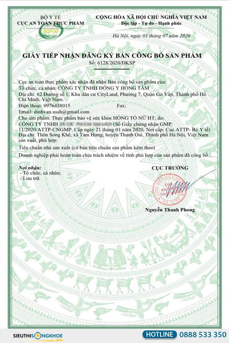 giấy chứng nhận hồng tố nữ