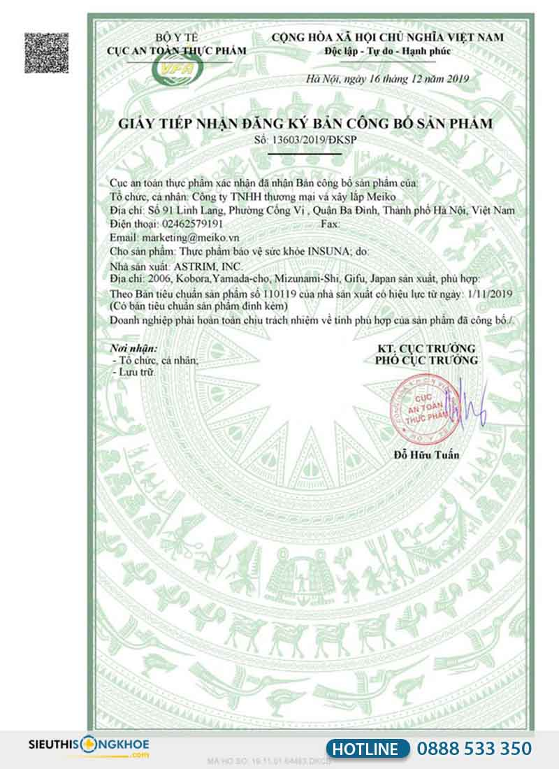giấy chứng nhận của Bộ Y Tế