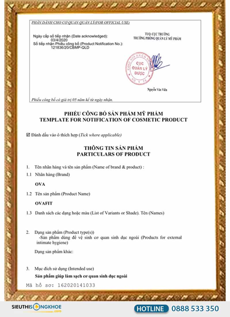 giấy chứng nhận ovafit
