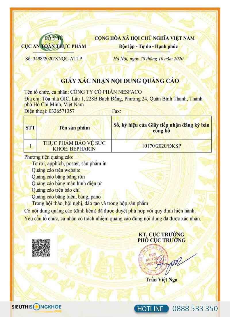 giấy chứng nhận quảng cáo