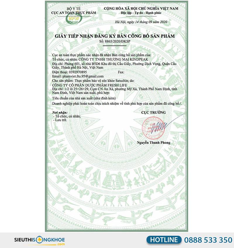giấy chứng nhận viên sủi satuchin