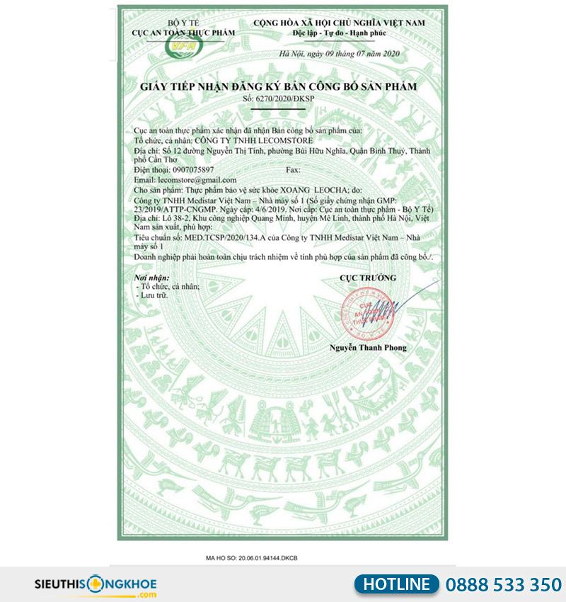 giấy chứng nhận của viên uống xoang leocha