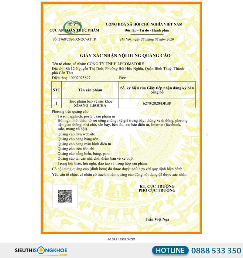 giấy xác nhận quảng cáo viên uống xoang leocha