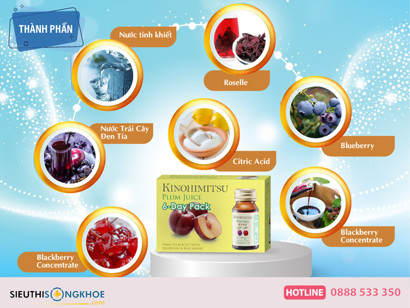 thành phần của kinohimitsu d'tox plum juice