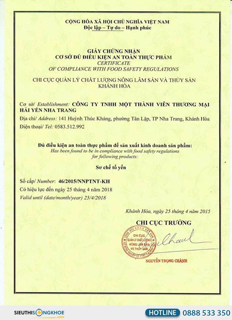 giấy chứng nhận an toàn thực phẩm sản phẩm yến chất