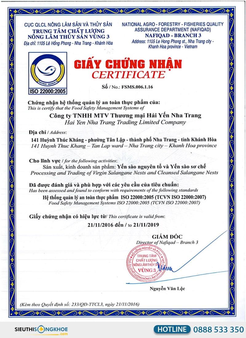 giấy chứng nhận sản phẩm yến chất
