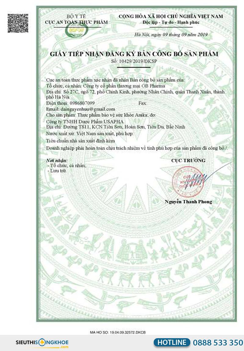 giấy chứng nhận viên uống anika