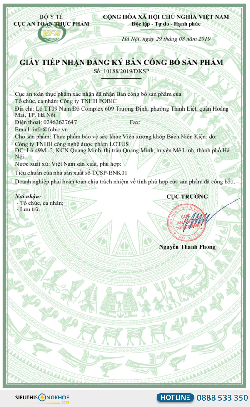 giấy chứng nhận viên uống bách niên kiện
