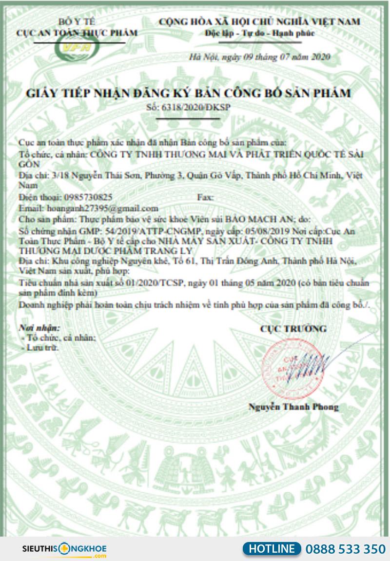 giấy chứng nhận viên sủi bảo mạch an