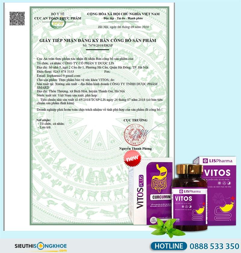 giấy chứng nhận viên uống vitos plus