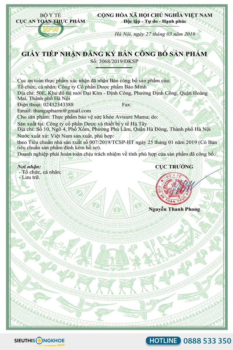 giấy chứng nhận của avisure mama