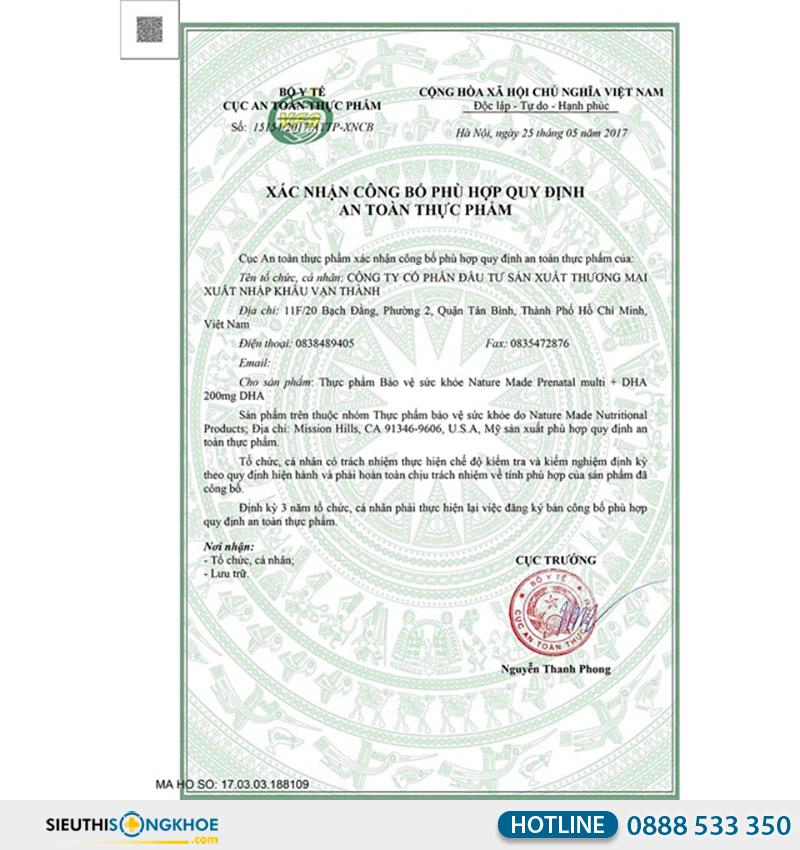 giấy chứng nhận của nature made prenatal multi dha