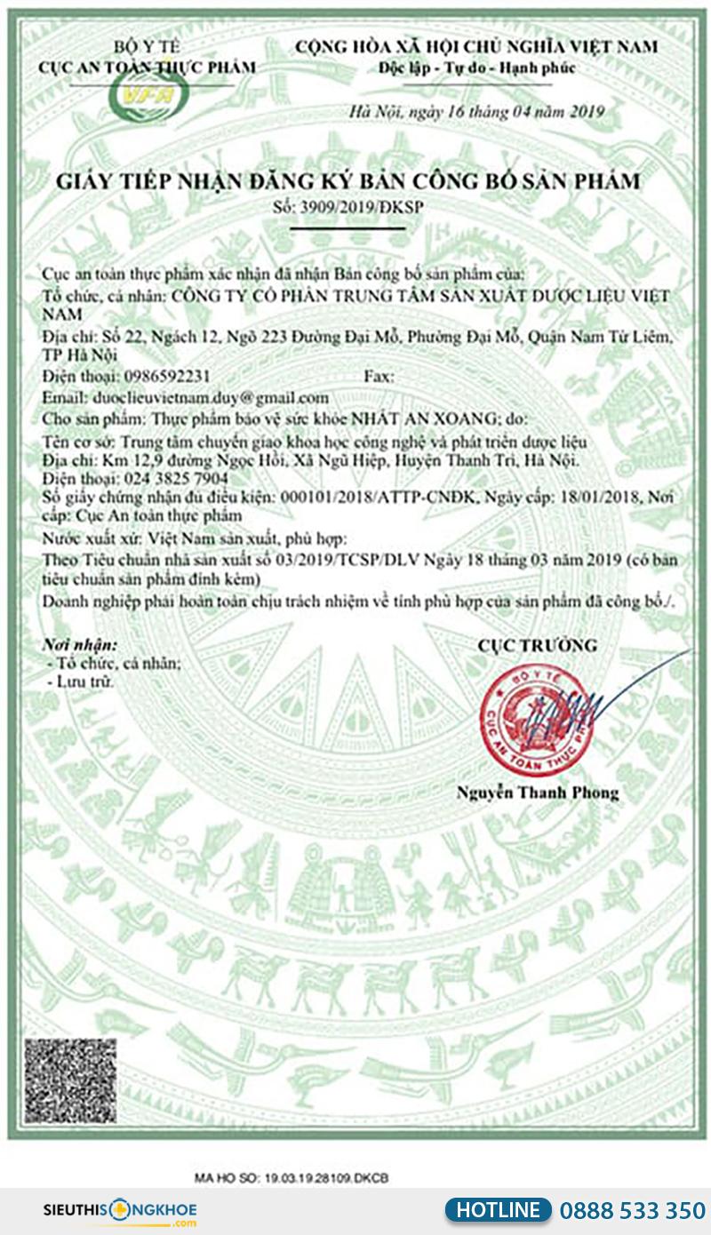 giấy chứng nhận của nhất an xoang