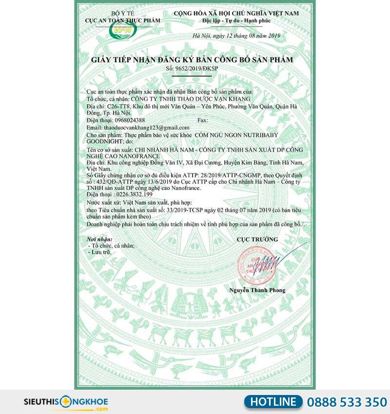 giấy chứng nhận của nutribaby goodnight