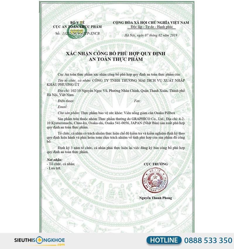 giấy chứng nhận của onaka pillbox