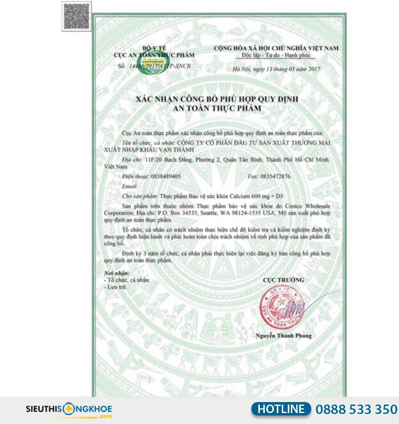 giấy chứng nhận của ostelin calcium & vitamin d3