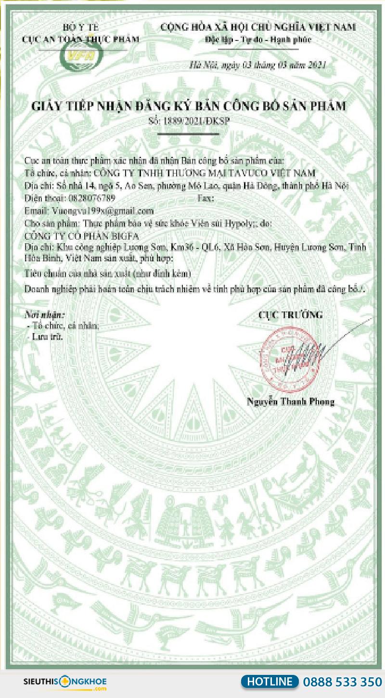 giấy chứng nhận của viên sủi hypoly