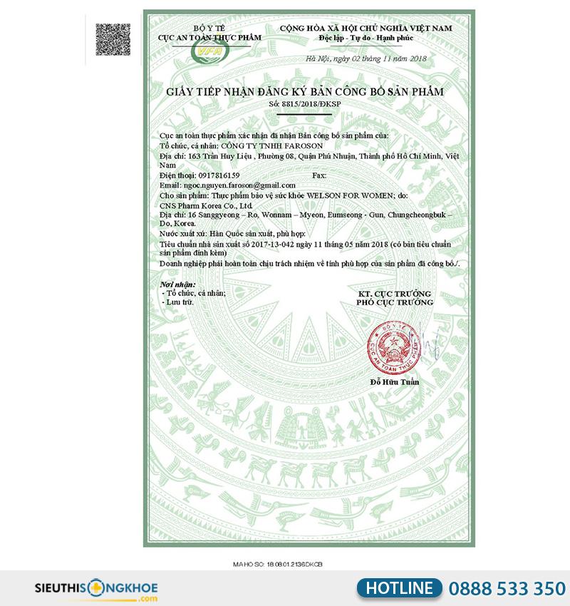 giấy chứng nhận của welson for women