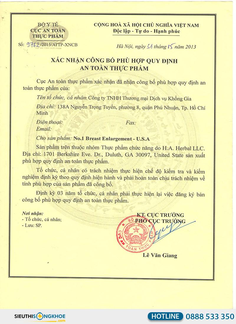 giấy chứng nhận của no.1 breast enlargement usa