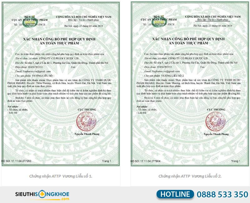 giấy chứng nhận của sản phẩm vương liễu