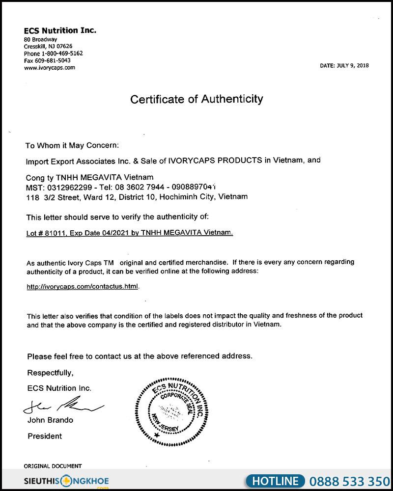 giấy chứng nhận viên uống ivory caps