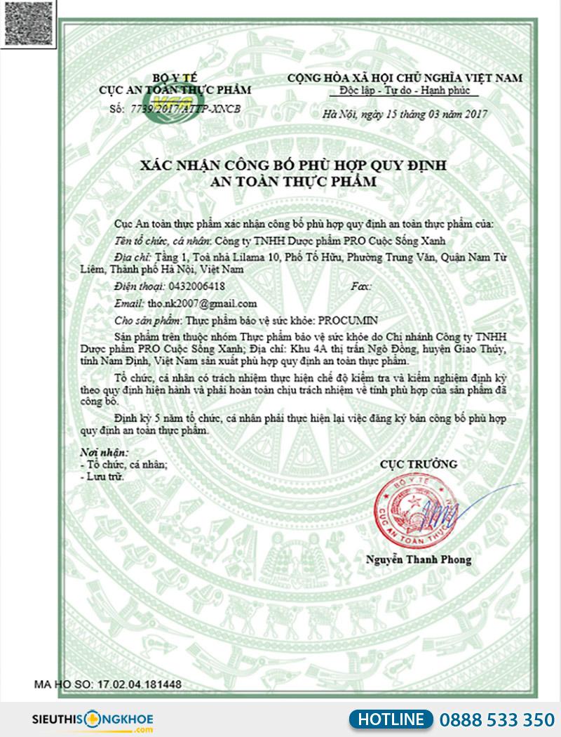 giấy chứng nhận viên uống procumin-e