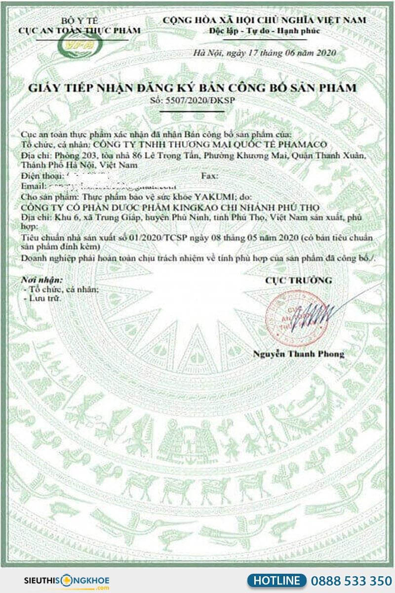 giấy chứng nhận yakumi gel