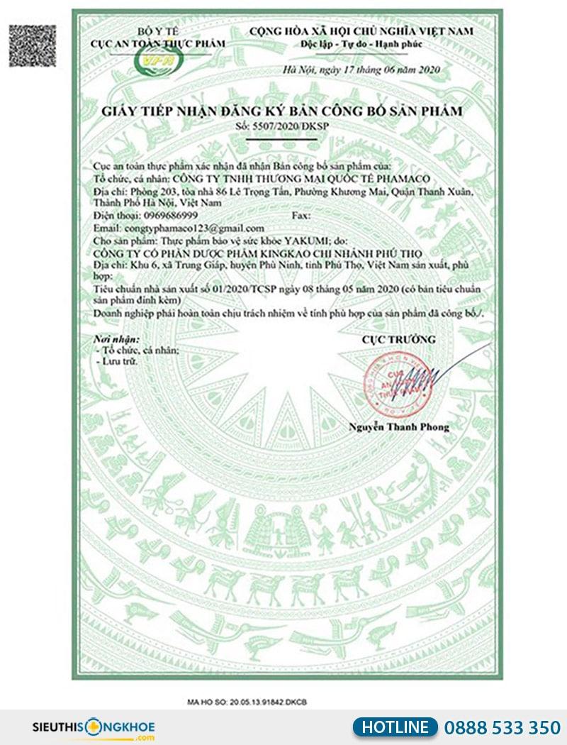 giấy chứng nhận của yakumi plus