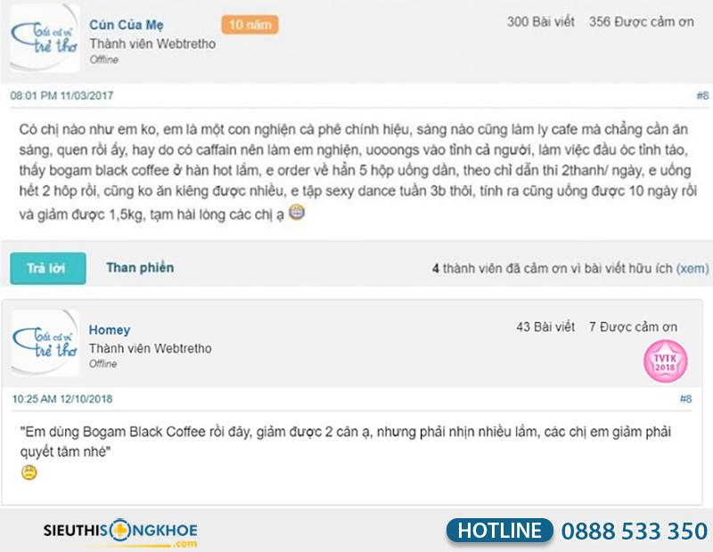 phản hồi khách hàng về bogam black coffee