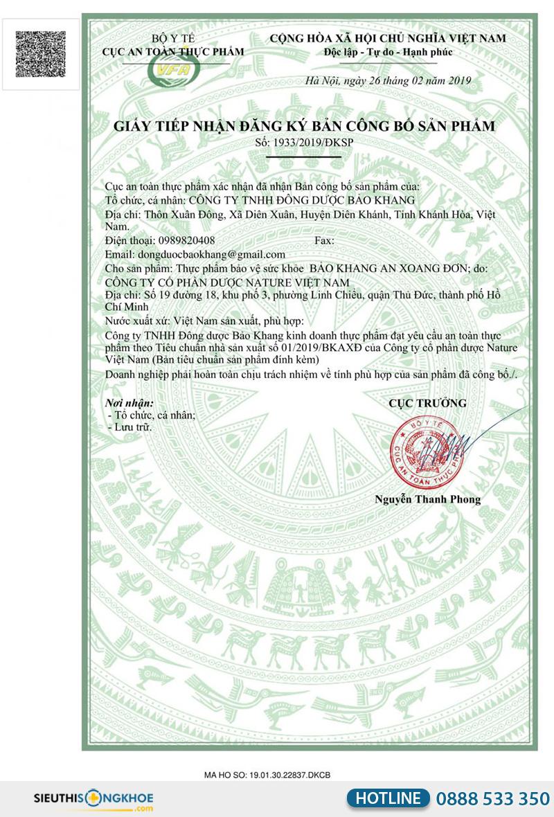 giấy chứng nhận của bảo khang an xoang đơn