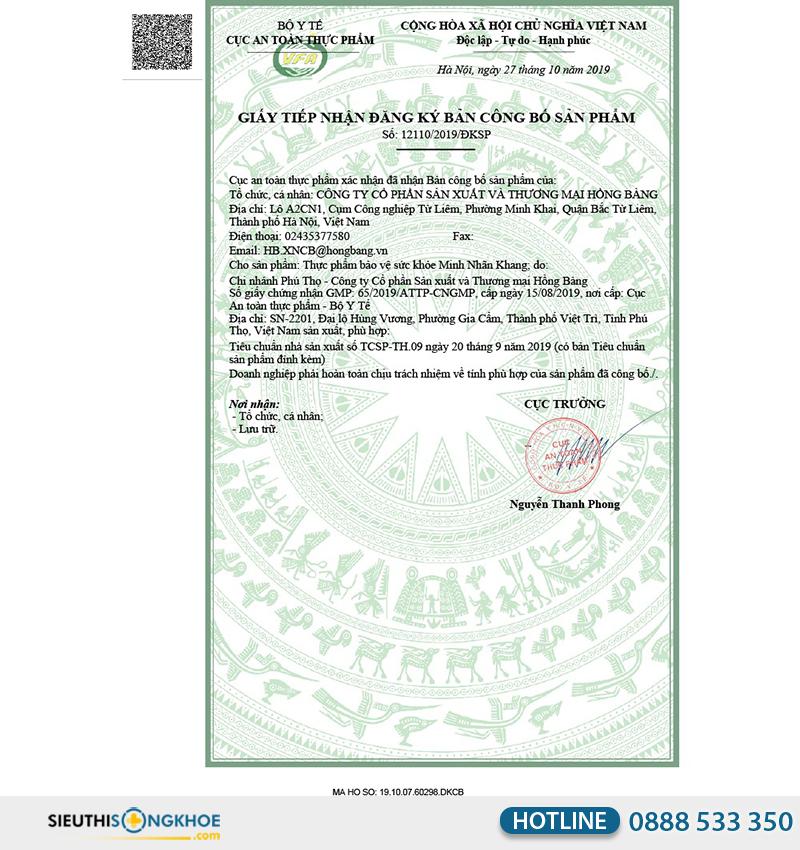 giấy chứng nhận của minh nhãn khang
