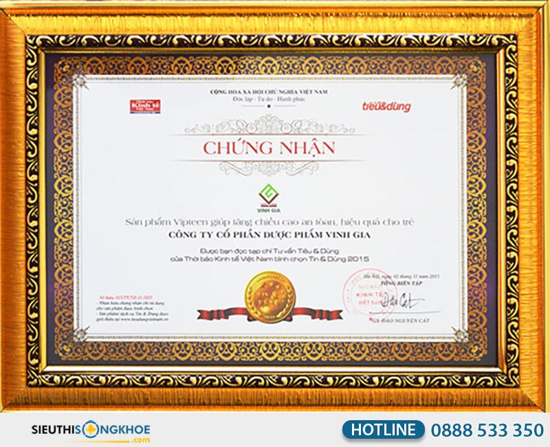 giấy chứng nhận của vipteen vinh gia