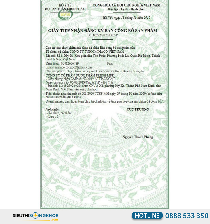 giấy chứng nhận của body beauty slim