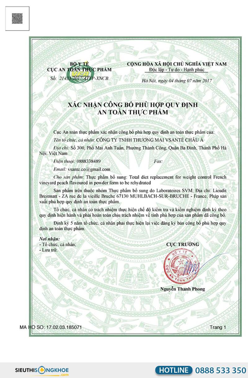 giấy chứng nhận của bữa ăn cân bằng vsante