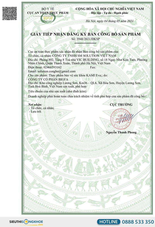 giấy chứng nhận của viên sủi kami